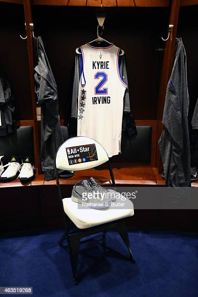 A jersey and sneakers to be worn by Kyrie Irving of the Eastern Conference Team prior to the 64th NBA AllStar Game presented by Kia as part of the...