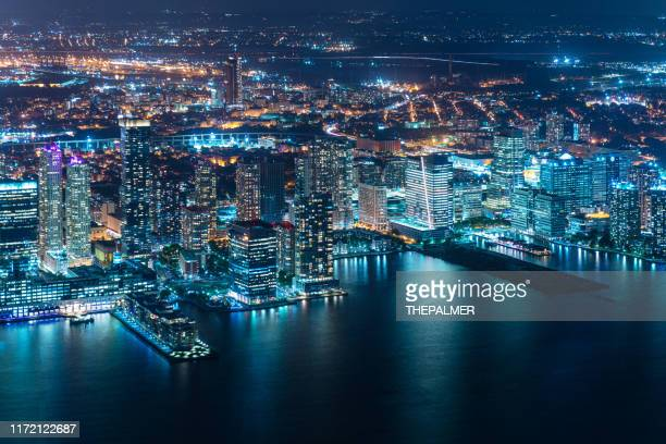 jersey city aerial skyline at twilight - jersey city stock pictures, royalty-free photos & images