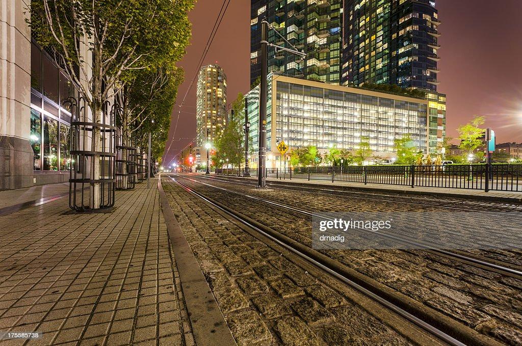 Jersey City - Hudson-Bergen Light Rail Tracks  Stock Photo & Jersey City Hudsonbergen Light Rail Tracks Stock Photo   Getty Images