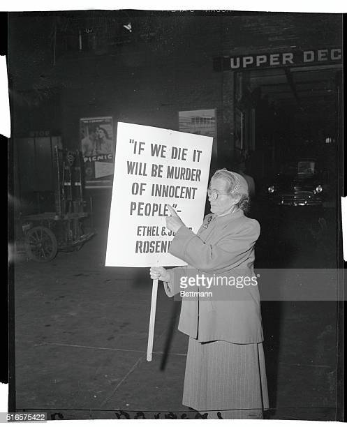 Mrs Sophie Rosenberg carries a placard bearing the words If we die it will be murder of innocent peopleA statement made by her son and daughter inlaw...