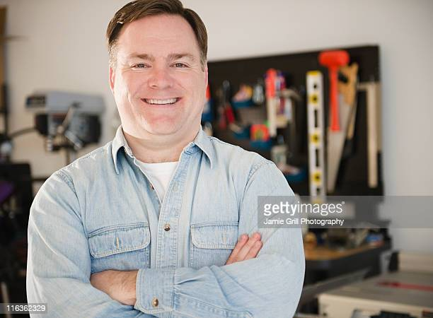 USA, Jersey City, New Jersey, hardware store owner