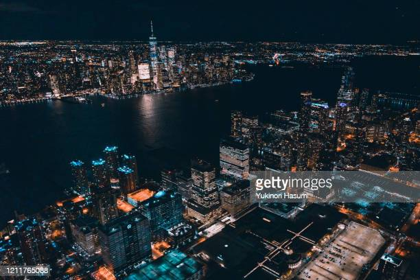 jersey city nightscape from above   new jersey, usa - jersey city stock pictures, royalty-free photos & images