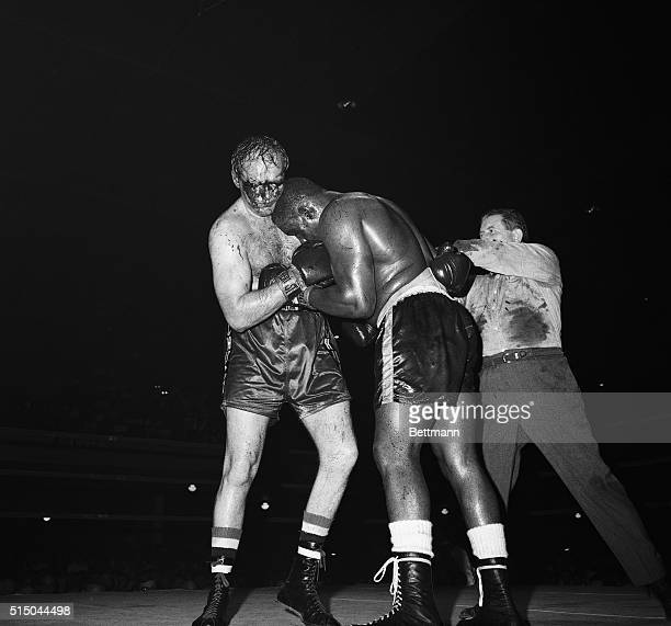 Jersey City, N.J.: Blood runs over Chuck Wepner's face just before a technical knockout was scored by Sonny Liston at the end of the ninth round late...