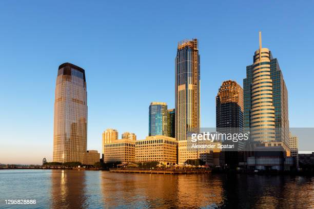 jersey city skyline in the morning, nj, usa - jersey city stock pictures, royalty-free photos & images