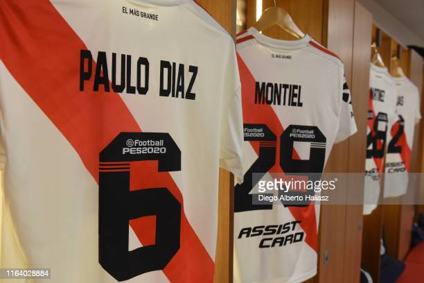 Jersey detail of Paulo Diaz Gonzalo Montiel Lucas Martines Quarta and Robert Rojas of River Plate in the dressing room before a match between River...