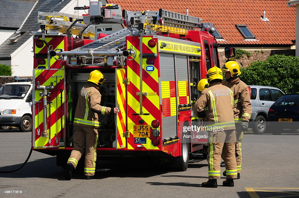 Jersey Fire service, U.K. : Stock Photo