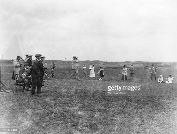 Jersey golfer Harry Vardon takes part in the Open Golf Championship at the Royal St George's Golf Club in Sandwich Kent June 1922