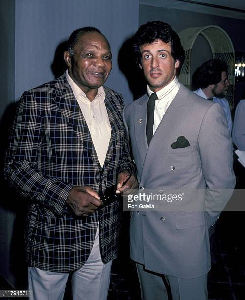 Jersey Joe Walcott And Sylvester Stallone during Lee Canalito Vs Curtis Whitner Press Conference and WeighIn July 6 1982 at Tropicana Hotel Casino in...