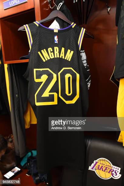 Jersey of Andre Ingram of the Los Angeles Lakers photographed in the locker room before the game against the Houston Rockets on April 10 2017 at...