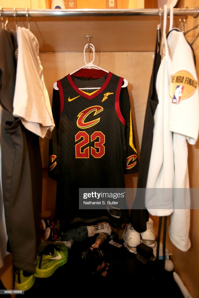 new products de074 e4602 Jersey of LeBron James of the Cleveland Cavaliers before the ...