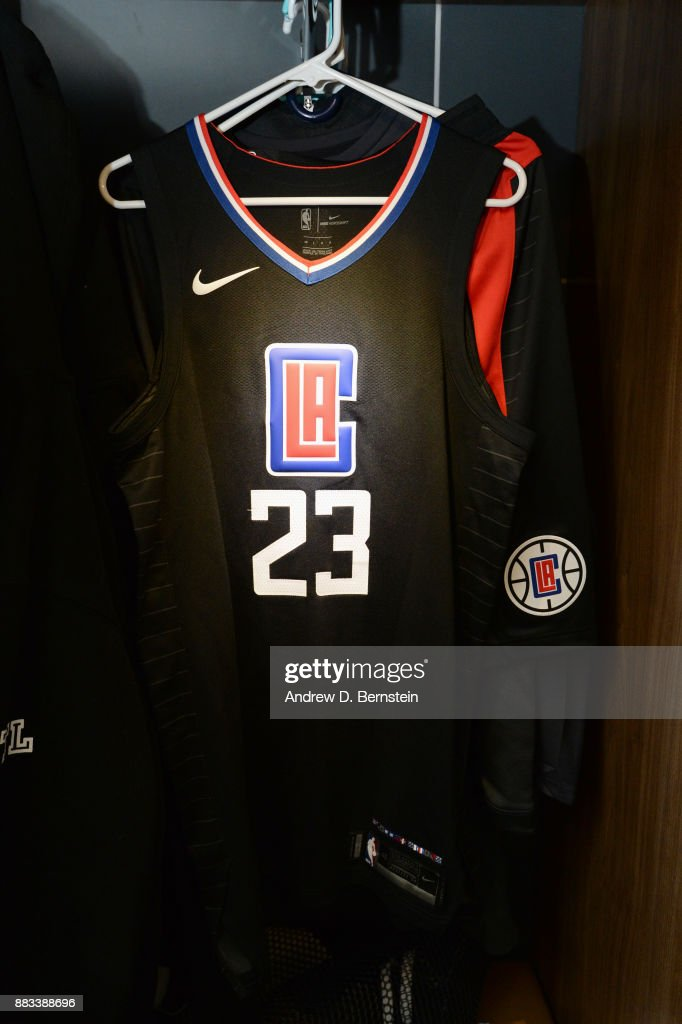 online store 38bf1 72d5f Jersey of Lou Williams of the LA Clippers is seen before the ...