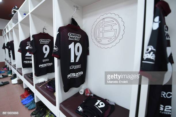 Jersey of Nicolas Aguirre of Lanus hangs in the locker room before the second leg match between Lanus and Gremio as part of Copa Bridgestone...