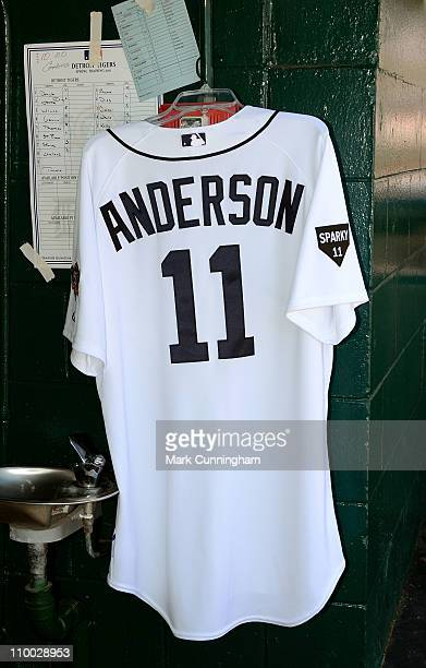A jersey paying tribute to former Detroit Tigers manager Sparky Anderson hangs in the dugout before the spring training game against the Toronto Blue...