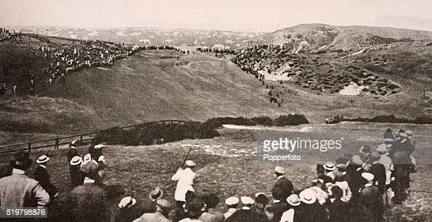 Jersey professional golfer Harry Vardon driving on the 17th hole at Braid Hills circa July 1914