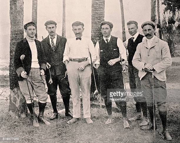 Jersey professional golfer Harry Vardon with a group of American professionals in Ormond Florida circa March 1900 Left to right Willie Hoare Harrt...