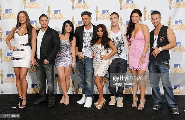 Jersey Shore cast members in the press room at the 2010 MTV Movie Awards at the Gibson Amphitheatre on June 6, 2010 in Universal City, California.