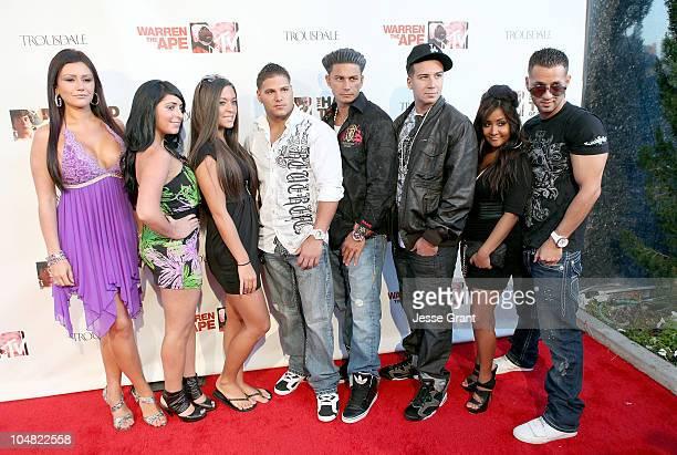 """Jersey Shore"" cast members Jenni Farley, Angelina Pivarnick, Sammi Giancola, Ronnie Magro, Pauly Del Vecchio, Vinny Guadagnino, Nicole Polizzi and..."