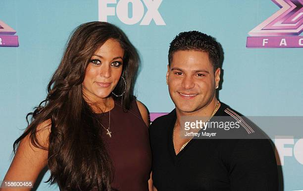 Jersey Shore cast Sammi 'Sweetheart' Giancola and Ronnie OrtizMagro arrive at Fox's 'The X Factor' Season Finale Night 1 at CBS Television City at...