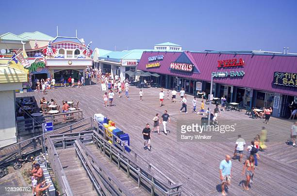 jersey shore, pleasant beach, people on boardwalk - boardwalk stock pictures, royalty-free photos & images