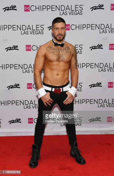 Jersey Shore star Vinny Guadagnino poses for photos at Chippendales at the Rio AllSuites Hotel And Casino on April 26 2019 in Las Vegas Nevada