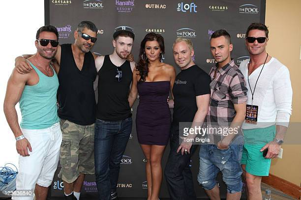 Jersey Shores Jenni 'JWoww' Farley poses with the cast of Logos AList at the Poolside Extravaganza during OUT in AC weekend at The Pool at Harrahs...