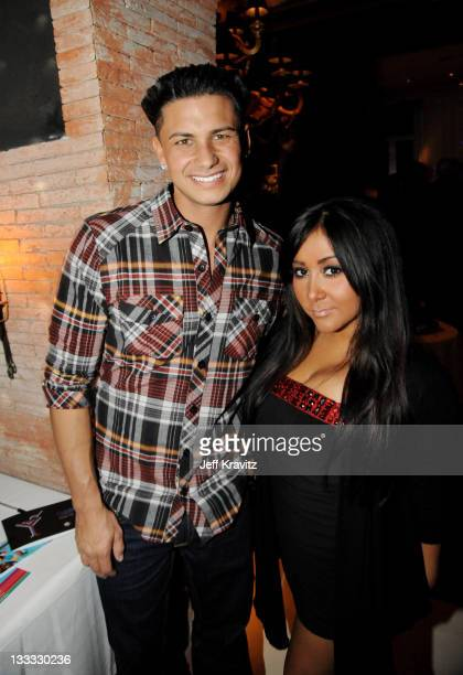 "Jersey Shore's Paul ""DJ Pauly D"" DelVecchio and Nicole ""Snooki"" Polizzi attend the MTV Europe Music Awards 2010 - Bill Roedy Cocktail Party at Ramses..."