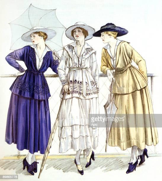 Jersey suit models by Gabrielle Chanel published in magazine 'Les elegances parisiennes' march 1917