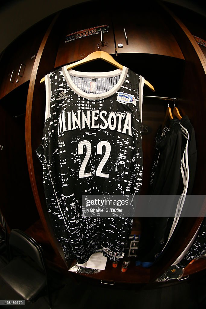 608eefbc7e2 A jersey to be worn by Andrew Wiggins of the World Team during a ...