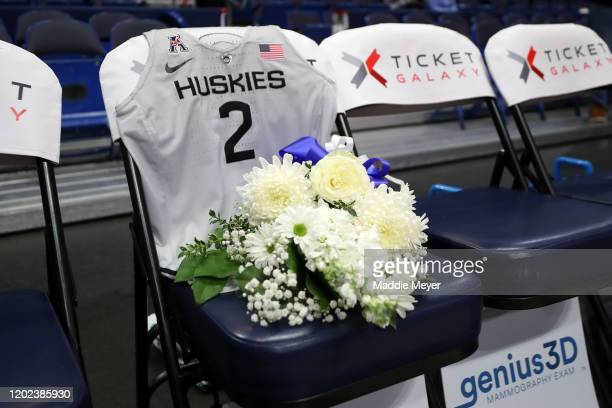 A jersey to honor Gianna Bryant sits on the UConn bench before the USA Women's National Team Winter Tour 2020 game between the United States and the...