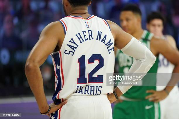 Jersey worn by Tobias Harris of the Philadelphia 76ers during Round One, Game Two of the NBA Playoffs on August 19, 2020 at The Field House in...