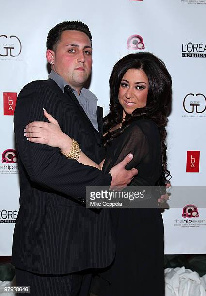 Jerseylicious cast members Frankie Bugligone and Gigi Liscio attend the Gatsby Salon's Premiere Party at LUA on March 21, 2010 in Hoboken, New Jersey.