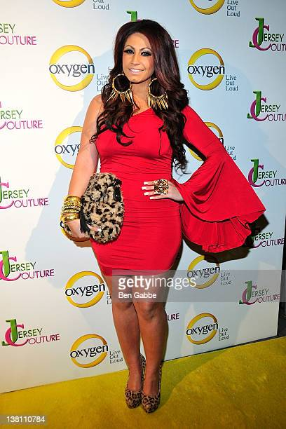 Jerseylicious' Tracy DiMarco attend sthe Jersey Couture Season 2 launch at the Jersey Couture PopUp Beauty Bar on February 2 2012 in New York City
