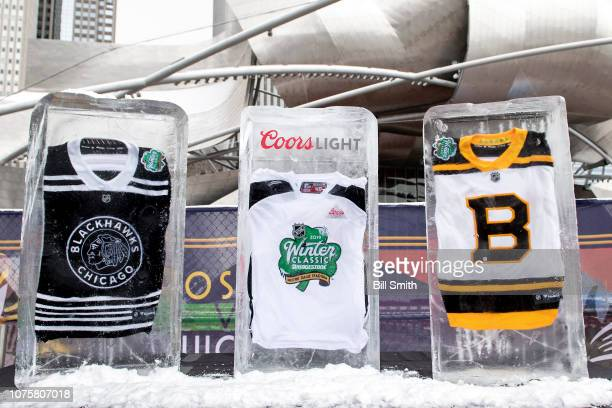 Jerseys are encased in ice during the Bridgestone NHL Winter Classic Park fan festival at Millenium Park on December 29 2018 in Chicago Illinois