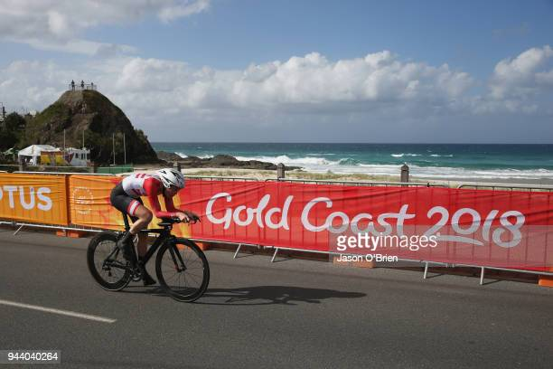 Jersey's Ashton Kimberly during the Cycling Time Trial on day six of the Gold Coast 2018 Commonwealth Games at Currumbin Beachfront on April 10, 2018...