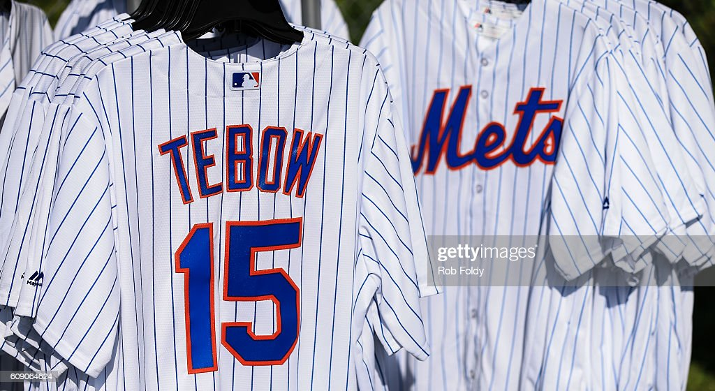 official photos d59a8 55600 Jerseys for sale as Tim Tebow of the New York Mets works out ...