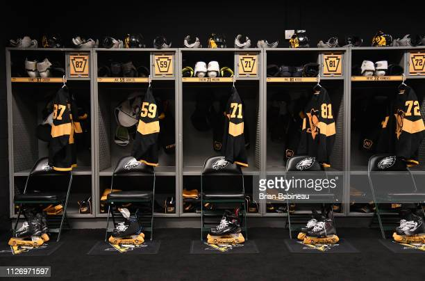 Jerseys hang in the Pittsburgh Penguins locker room ahead of the 2019 Coors Light NHL Stadium Series game between the Pittsburgh Penguins and the...