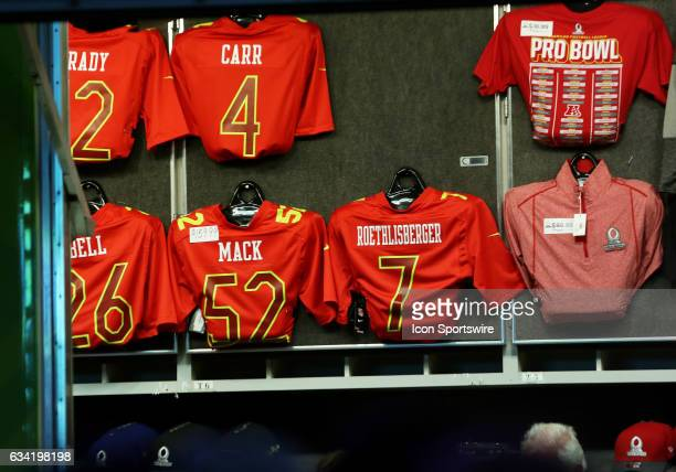 AFC jerseys on display open for purchase during the 2017 Pro Bowl at Camping World Stadium in Orlando Florida