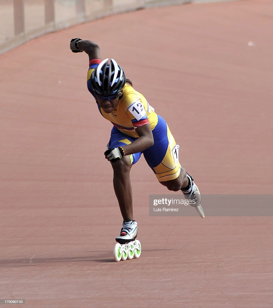 Jersy Puello from Colombia during a competition in the 300 meters individual time in Track Speed Roller Skating in the IX World Games Cali 2013 on July 31, 2013 in Cali, Colombia.