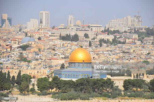 jerusalem and dome of rock - mount of olives stock photos and pictures