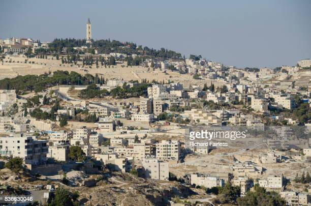 jerusalem and the mount of olives - mount of olives stock photos and pictures
