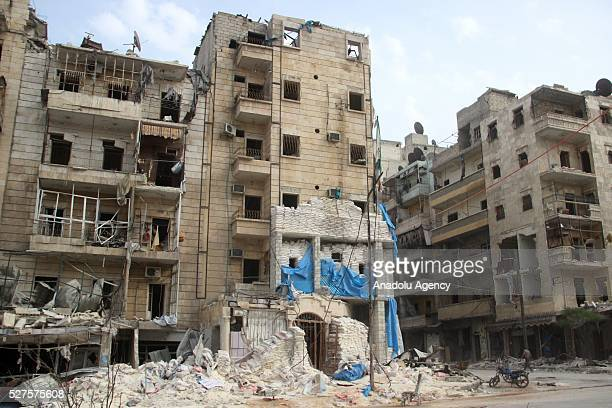Jerusalem field hospital is seen as it turns into a wreckage after Assad Regime forces' multiple attacks in Aleppo Syria on May 3 2016 Assad Regime's...
