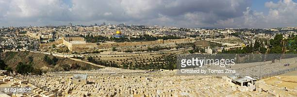 jerusalem from mount of olives - mount of olives stock photos and pictures