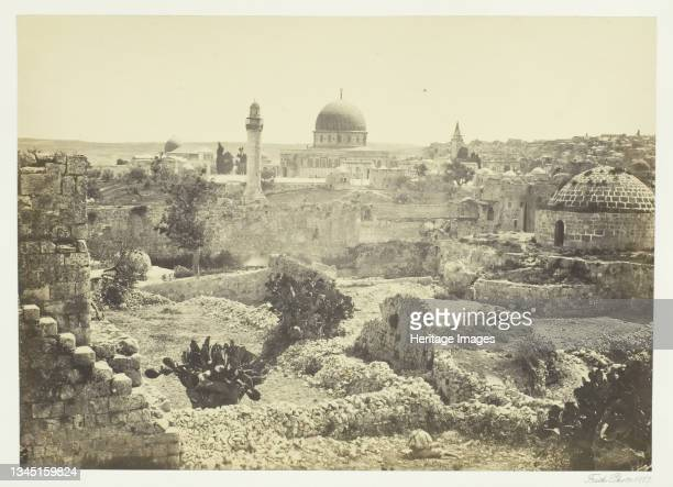 """Jerusalem from the City Wall, 1857. Albumen print, pl. 36 from the album """"Egypt and Palestine, volume i"""" . Artist Francis Frith."""