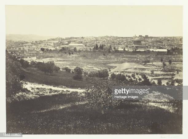"""Jerusalem, from the Mount of Olives, No.1, 1857. Albumen print, pl. 16 from the album """"Egypt and Palestine, volume ii"""" . Artist Francis Frith."""