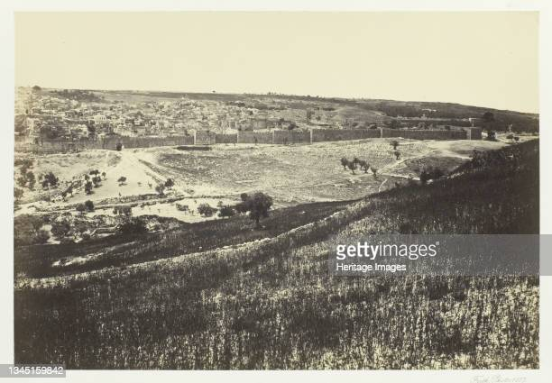 """Jerusalem, from the Mount of Olives, No.2, 1857. Albumen print, pl. 17 from the album """"Egypt and Palestine, volume ii"""" . Artist Francis Frith."""