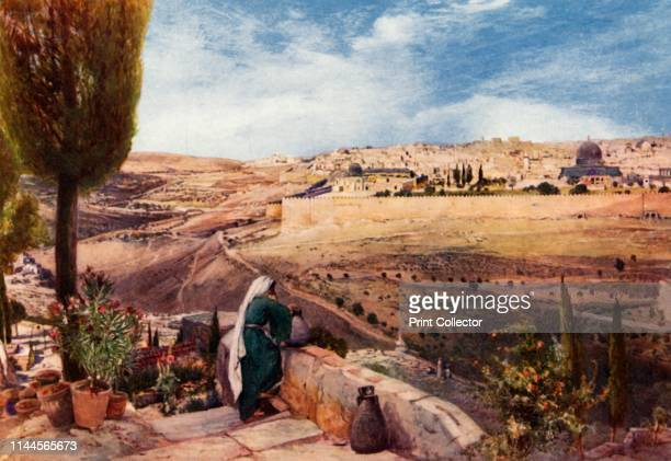 """Jerusalem from the traditional Spot on the Mount of Olives where Christ wept over the City', 1902. From """"The Holy Land"""", painted by John Fulleylove,..."""