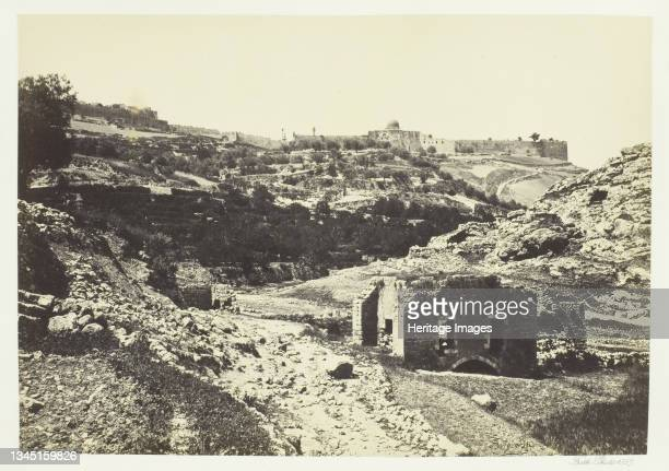 """Jerusalem from the Wall of En-Rogel, 1857. Albumen print, pl. 33 from the album """"Egypt and Palestine, volume i"""" . Artist Francis Frith."""
