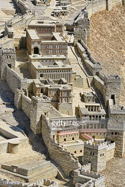 jerusalem holyland model - the city of david - david and goliath stock photos and pictures