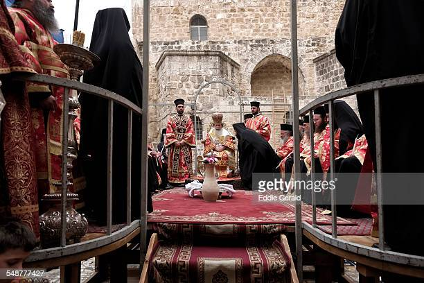 Jerusalem Israel 9th April 2015 Greek Orthodox Patriarch of Jerusalem Theophilos III conducts the 'Washing of the Feet' ceremony at the Church of the...