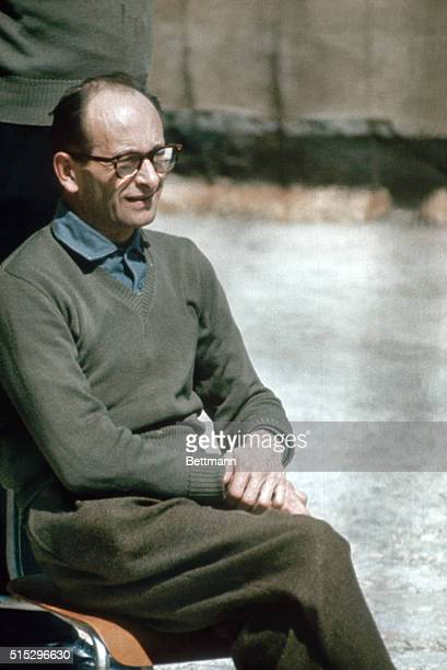 4/1961 Jerusalem Israel Adolf Eichmann closeups in Teggart Fortress prior to his removal to Jerusalem Court House